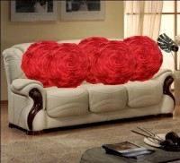 HandloomTrendz Red Romantic Rose Covers Floral Cushions Cover (5 Cushion Covers, 41 Cm*41 Cm)