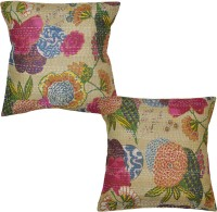 Lal Haveli Indian Handmade Cotton Printed Cushions Cover (Pack Of 2, 16 Cm*16 Cm, Beige)
