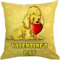 Dazzilo Cute Dog With Heart Printed Cushions Cover (40.64 Cm*40.64 Cm, Yellow)