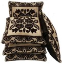 Shc Jute Gulab Brown Cushion Cover - Pack Of 5