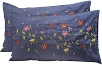 Milano Home Embroidered Pillows Cover Pack Of 2, 48 Cm*76 Cm, Dark Blue