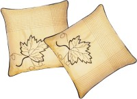 Zikrak Exim Embroidered Cushions Cover (Pack Of 2, 30 Cm*30 Cm, Beige)