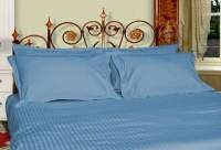 Just Linen 500 TC Cotton Sateen Striped Pillow Covers Self Design Pillows Cover (Pack Of 2, 68 Cm*45 Cm, Light Blue)