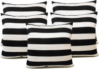 ZIKRAK EXIM Straight Stripe Black N White Striped Cushions Cover (Pack Of 5, 40 Cm*40, Black, White)