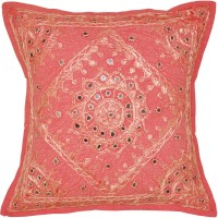 Lal Haveli Beautiful Attractive Home Decorative Handmade Embroidery Mirror Work Embroidered Cushions Cover (41 Cm*41 Cm, Pink)