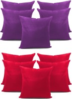 Zikrak Exim Stylish Plain Red N Purple Combo Self Design Cushions Cover (Pack Of 10, 30 Cm*30 Cm)