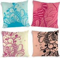 ShopMantra Floral Leaves Collection Printed Cushions Cover (4 Cushion Pillow Cover, 40.64 Cm*40.64 Cm)
