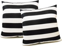 Zikrak Exim Straight Stripe White N Black Floor Striped Cushions Cover (Pack Of 2, 50 Cm*50 Cm, Black, White)
