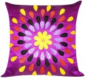 ZIKRAK EXIM Felt Leaves Patch Purple Cushions Cover - Pack Of 1