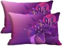 Mesleep Purple Flower Digitally Printed Pillows Cover - Pack Of 2