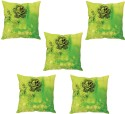 StyBuzz Green Floral Print Cushions Cover - Pack Of 5