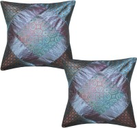 Lal Haveli Beautiful Handmade Silk 16x16 Inches Abstract Cushions Cover (Pack Of 2, 41 Cm*41 Cm, Blue)