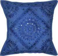 Lal Haveli Traditional Handmade Embroidery Mirror Work Embroidered Cushions Cover (41 Cm*41 Cm, Blue)