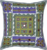 Lal Haveli Rajasthani Home Decor Handmade Cut Work Embroidery Mirror Work Cotton Embroidered Cushions Cover (41 Cm*41, Blue)
