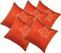 Zikrak Exim Embroidered Cushions Cover (Pack Of 5, 30 Cm*30 Cm, Peach)