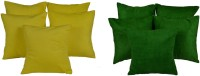 MeSleep Multi Color Velvet Solid Cushions Cover (Pack Of 10, 40.64*40.64, Green, Yellow)