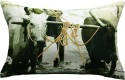 13 Odds 13 Odds Antique Village Bullock Cart Print & Embroidery, Black/White/Red Cushion Cushions Cover - Pack Of 1