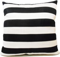 Zikrak Exim Straight Stripe White N Black Floor Striped Cushions Cover (50 Cm*50 Cm, Black, White)