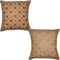 Lal Haveli Embroidered Cushions Cover (Pack Of 2, 41 Cm*41 Cm, Brown) - CPCE8BZ9YHABUTN7