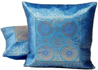 Home India Mirror Embroidery Hand Work Self Design Cushions Cover (Pack Of 2, Blue)