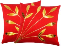 Zikrak Exim Embroidered Cushions Cover (Pack Of 2, 30 Cm*30 Cm, Red)