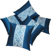 Zikrak Exim Embroidered Cushions Cover (Pack Of 5, 40 Cm*40 Cm, Blue, Light Blue)