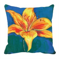 Footpathcrafts Yellow Tulip Digitally Printed Cushion Cover Printed Cushions Cover (40*40)