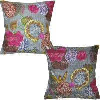 Lal Haveli Block With Kantha Thread Work Printed Cushions Cover (Pack Of 2, 16 Cm*16 Cm, Grey)