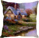 StyBuzz Painted Hut (12x12) Cushions Cover - Pack Of 1