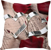 StyBuzz Two Metal Hearts Printed Cushions Cover (40 Cm*40 Cm)