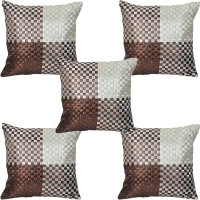 JBG Home Store Checkered Cushions Cover (Pack Of 5, 40 Cm, Multicolor)