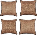 "SEJ By Nisha Gupta Tussar Silk With Sequin Border 16"" By 16"" Cushion Cover. Cushions Cover - Pack Of 4"