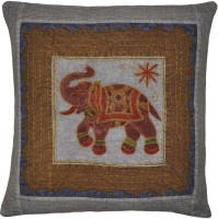 Lal Haveli Home Decor Handmade Cotton 24x24 Inches With Sujani Embroidered Elephant Work And Kantha Thread Work Embroidered Cushions Cover (Cushion Cover, 60.96 Cm*60.96 Cm)