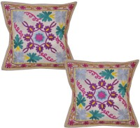 Lal Haveli Beautiful Handmade Sujani Work 16x16 Inches Embroidered Cushions Cover (Pack Of 2, 41 Cm*41 Cm, Beige)