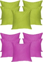 Zikrak Exim Agley Quilted Self Design Cushions Cover (Pack Of 10, 30 Cm*30 Cm, Green, Purple)