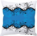StyBuzz Blue And White Floral Abstract Art Cushions Cover - Pack Of 1