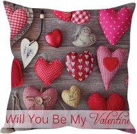 StyBuzz Will You Be My Valentine Printed Cushions Cover (Cushion Pillow Cover, 40 Cm*40 Cm)