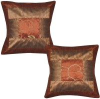 Lal Haveli Handmade Home Decorative Silk Sofa 16x16 Inches Abstract Cushions Cover (Pack Of 2, 41 Cm*41 Cm, Brown)