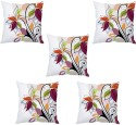 StyBuzz White Floral Abstract Cushions Cover - Pack Of 5