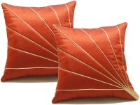 Zikrak Exim Embroidered Cushions Cover (Pack Of 2, 50 Cm*50 Cm, Peach)