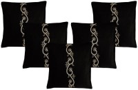 Dekor World Embroidered Cushions Cover (Pack Of 5, 40 Cm*40, Black)