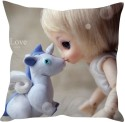 StyBuzz Doll And Unicorn Love Cushions Cover - Pack Of 1