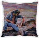 StyBuzz Man With Dog Painting Cushion Cover Cushions Cover - Pack Of 1