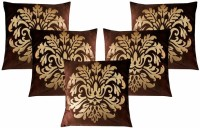 Dekor World Royal Printed Collection Printed Cushions Cover (Pack Of 5, 40*40, Brown, Gold)