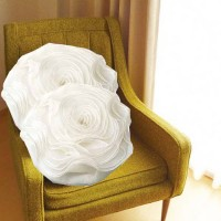 HandloomTrendz White Sexy Rose With Filler Floral Cushions Cover (Pack Of 2, 41 Cm*41 Cm, White)