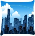 Snoogg Mumbai By Night Throw Pillows 16 X 16 Inch Cushions Cover - Pack Of 1