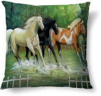 Amy Three Horses Running Abstract Cushions Cover (40.64 Cm*40.64 Cm)