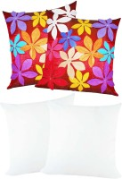 Zikrak Exim Felt Flower Patch With Filler Self Design Cushions Cover (Pack Of 4, 40*40)