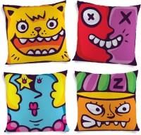 ShopMantra Artistic Cartoon Faces Printed Cushions Cover (4 Cushion Pillow Cover, 40.64 Cm*40.64 Cm)