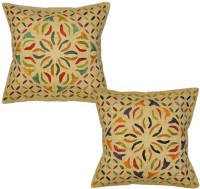 Lal Haveli Indian Designer Handmade Cotton Embroidered 16x16 Inches Embroidered Cushions Cover (Cushion Pillow Cover, 41 Cm*41 Cm)